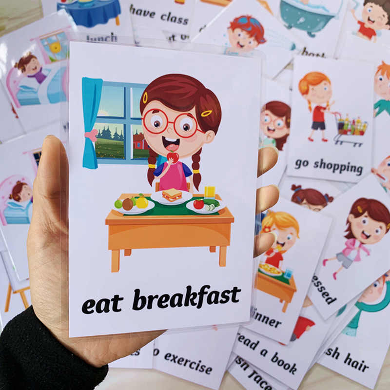 Tarjetas Flash para aprendizaje temprano en inglés 34 Uds., tarjetas de palabras educativas para la vida diaria de los niños, útiles para enseñanza de Guarderías