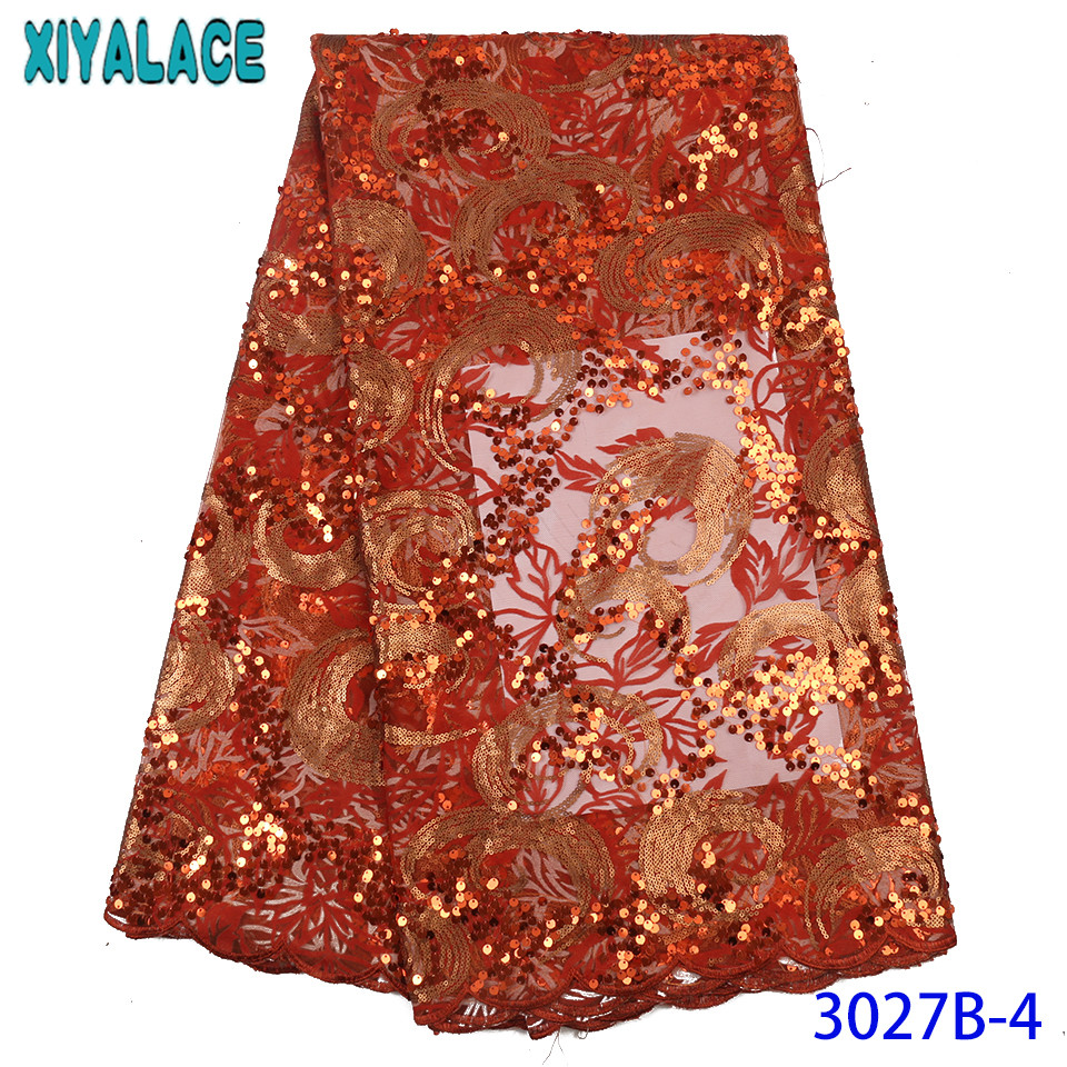 African Sequin Lace Fabric 2019 High Quality Lace Burnt Orange Sequence Lace Fabric Nigerian Embroidered Laces KS3027B