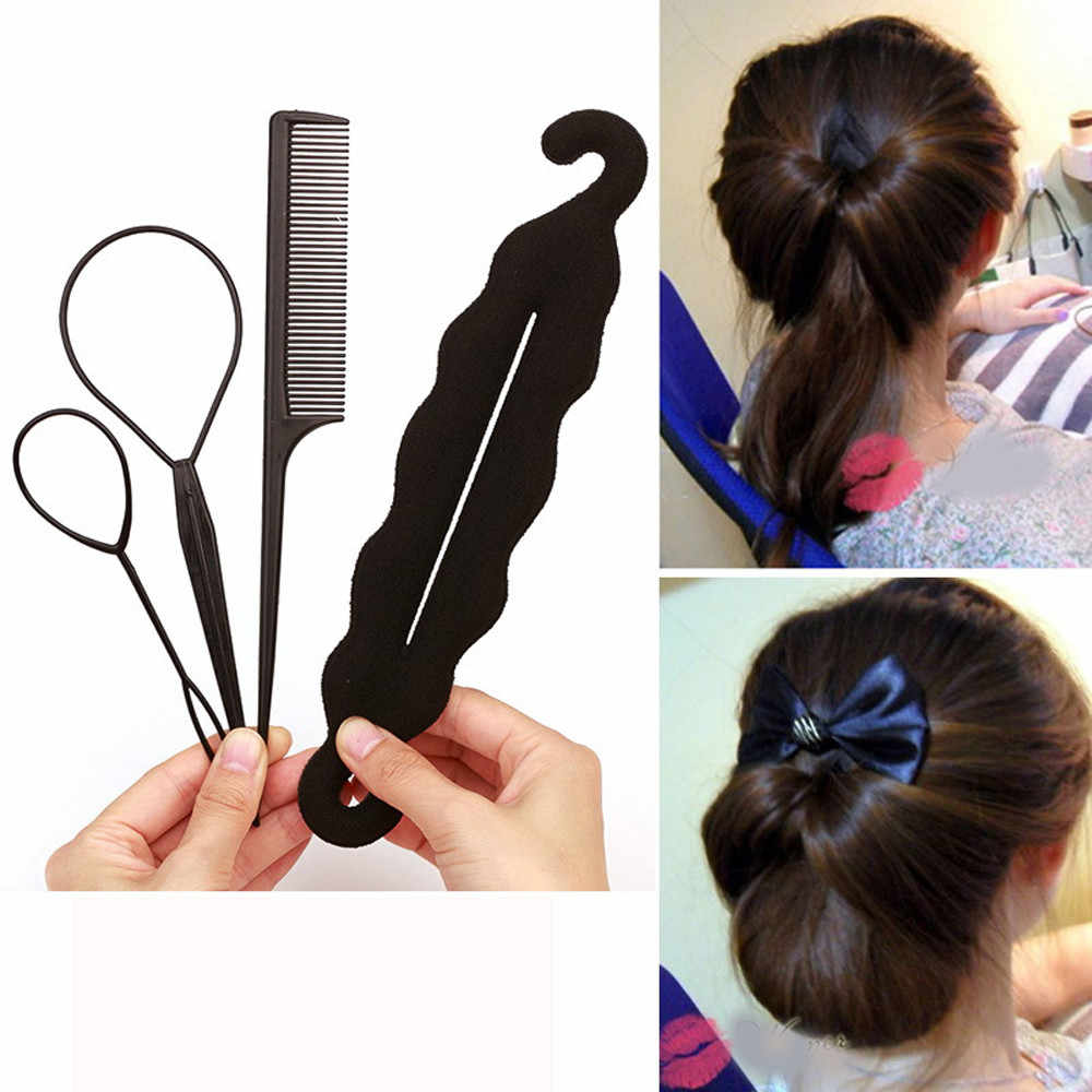 4pcs Ponytail Creator Plastic Loop Styling Tools Pony Tail Clip Hair Braid Maker Styling Tool Salon Maker Hair Band Accessories