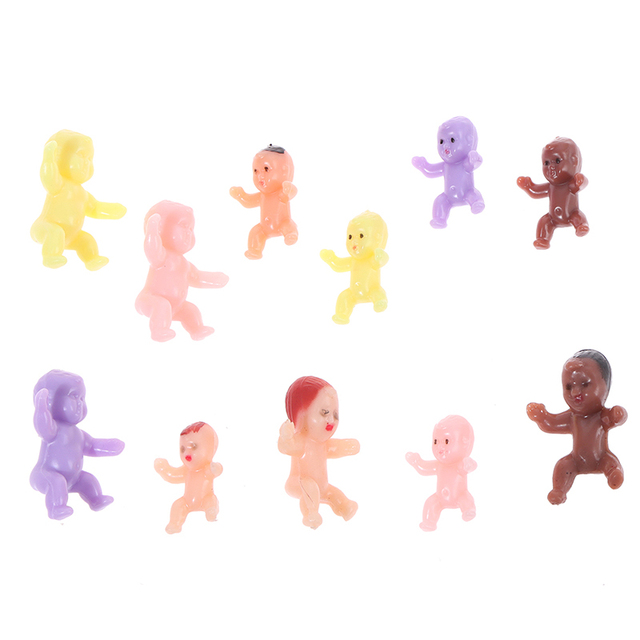 Kids Small Toy Accessories 10 PCS Cute Baby Shower Mini Doll Plastic Child Full Moon Gifts Boys Girls Party Supplies 2
