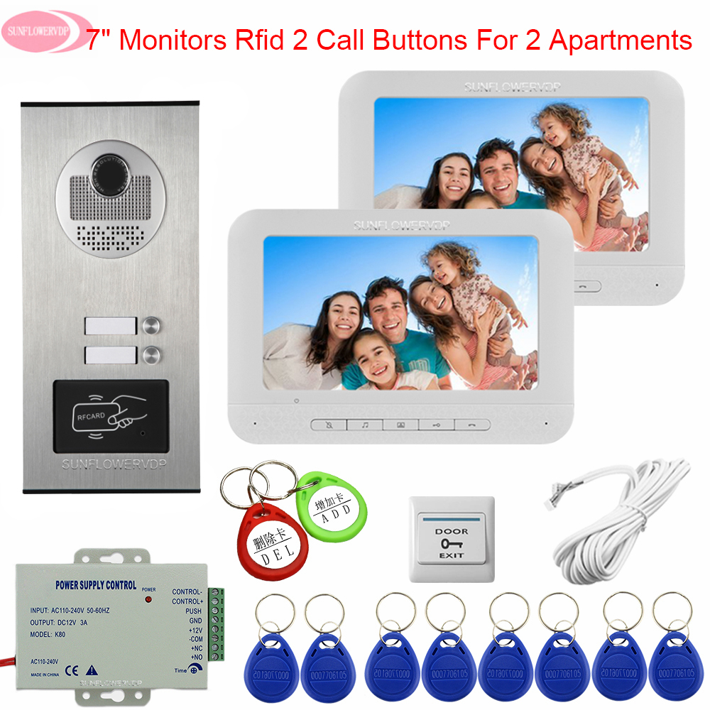 White Intercom For A Private House Monitoring Camera System Access Control 7 Inchs Color Video Door Phone Intercom Home Security