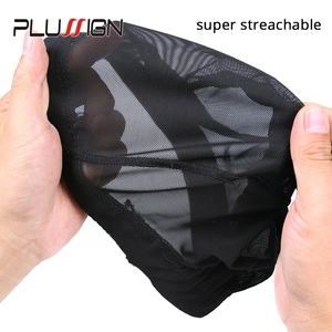 Image 3 - Plussign 12 יח\חבילה סיטונאי סטרץ כיפת עבור פאה ביצוע אלסטי רשת רשתות שיער אריגת כובע ממוצע גודל Strech סנוד ניילון