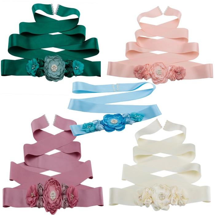 Women Girls Peach Emerald Green Waist Belts Long Ribbon Flower Belt Girls Wedding Bridal Waistband For Party Dress Accessories
