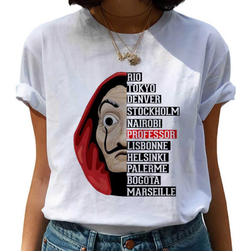 2020 ラカサデpapel tシャツ新マネー強盗女性ラカサデpapel tシャツおかしいトップtシャツファッション女性の服のtシャツ