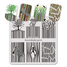 Beleza grande bang placa de carimbo código de barras zebra listrado macarrão engraçado imagem para a arte do prego polonês placas de carimbo aço inoxidável