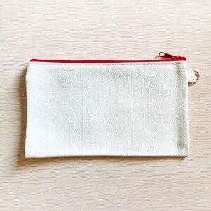 Image 3 - 10 sztuk puste płótno Zipper piórniki Pen woreczki bawełniane torby kosmetyczne torebki na makijaż telefon komórkowy kopertówka z organizerem