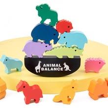 Children Montessori Wooden Balance Blocks Board Games Toy Colorful Dinosaur Educational Stacking High Building Block Wood Game
