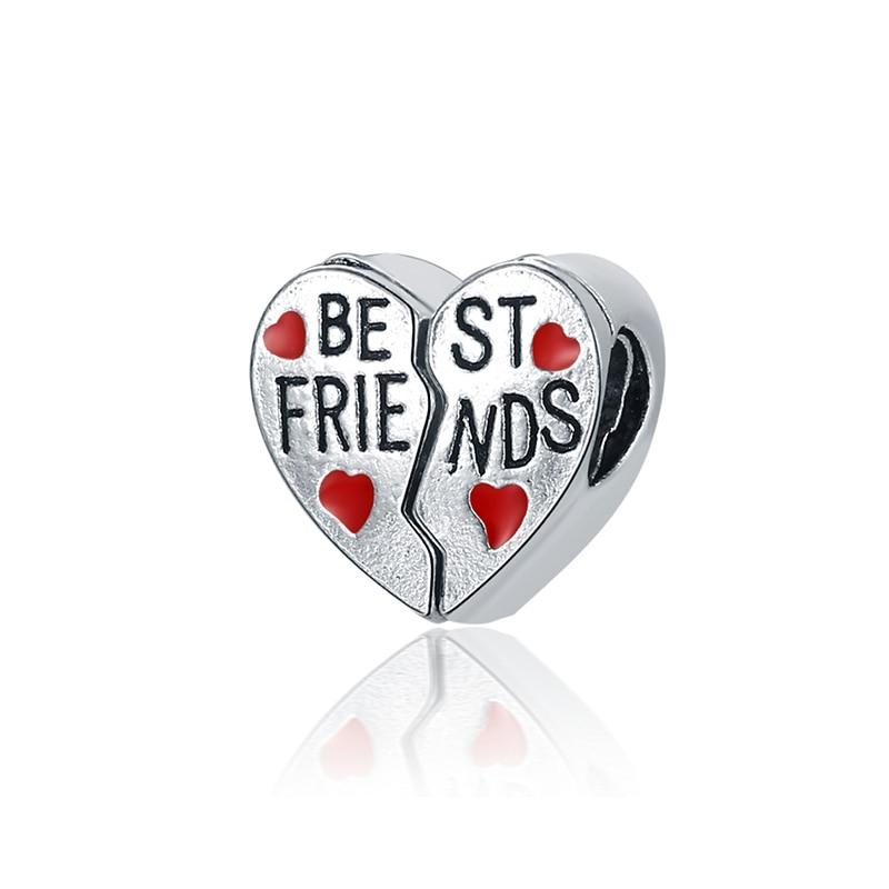 Новинка, сплав, бисерная подвеска в виде сердца для семьи, мамы, папы, любви, подходит для Пандоры, браслет, ожерелье, сделай сам, Женские Ювелирные изделия - Цвет: Best Friends