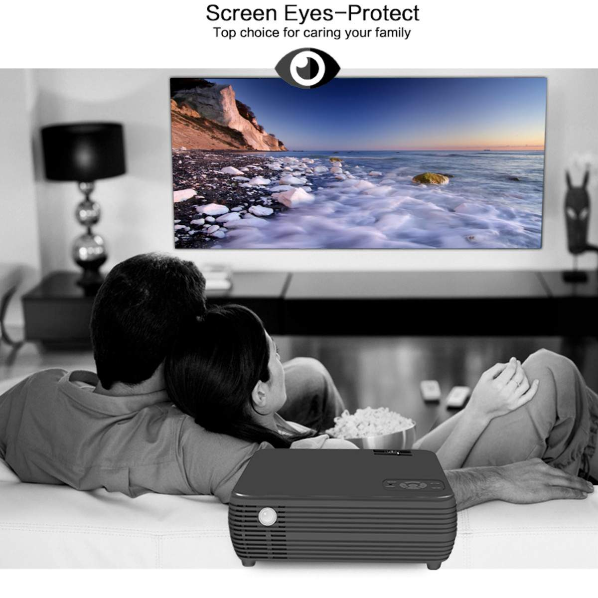 Monitor - TheaterMax™ X5 LCD Projector 7000 Lumens Support 1080P HD Multimedia Home Cinema Smart Home Theater