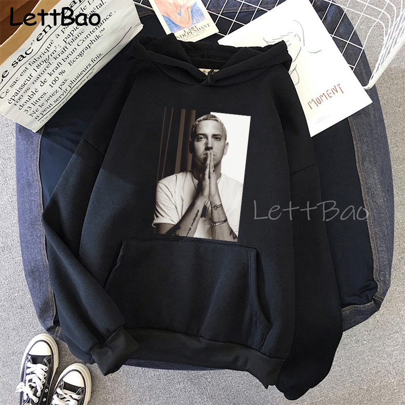 Eminem Cool Black Unisex Hoodies Sweatshirt Hip Hop Rap Punk Style Tops Pullover HipHop Rock Gothic Winter Coat Women Men Hoodie 16