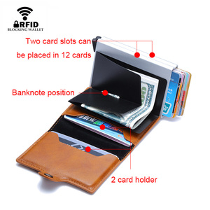 Image 4 - Top Quality Rfid Wallet Men Money Bag Mini Purse Male Aluminium Card Wallet Small Clutch Leather Wallet Thin Purse carteras 2020