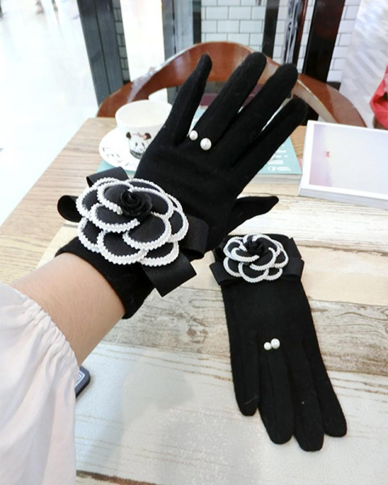Black Camellia Cashmere and Cashmere Gloves Korean Fashion Houndstooth Mink Hair Cute Flowers Warm Touch Screen Gloves Women