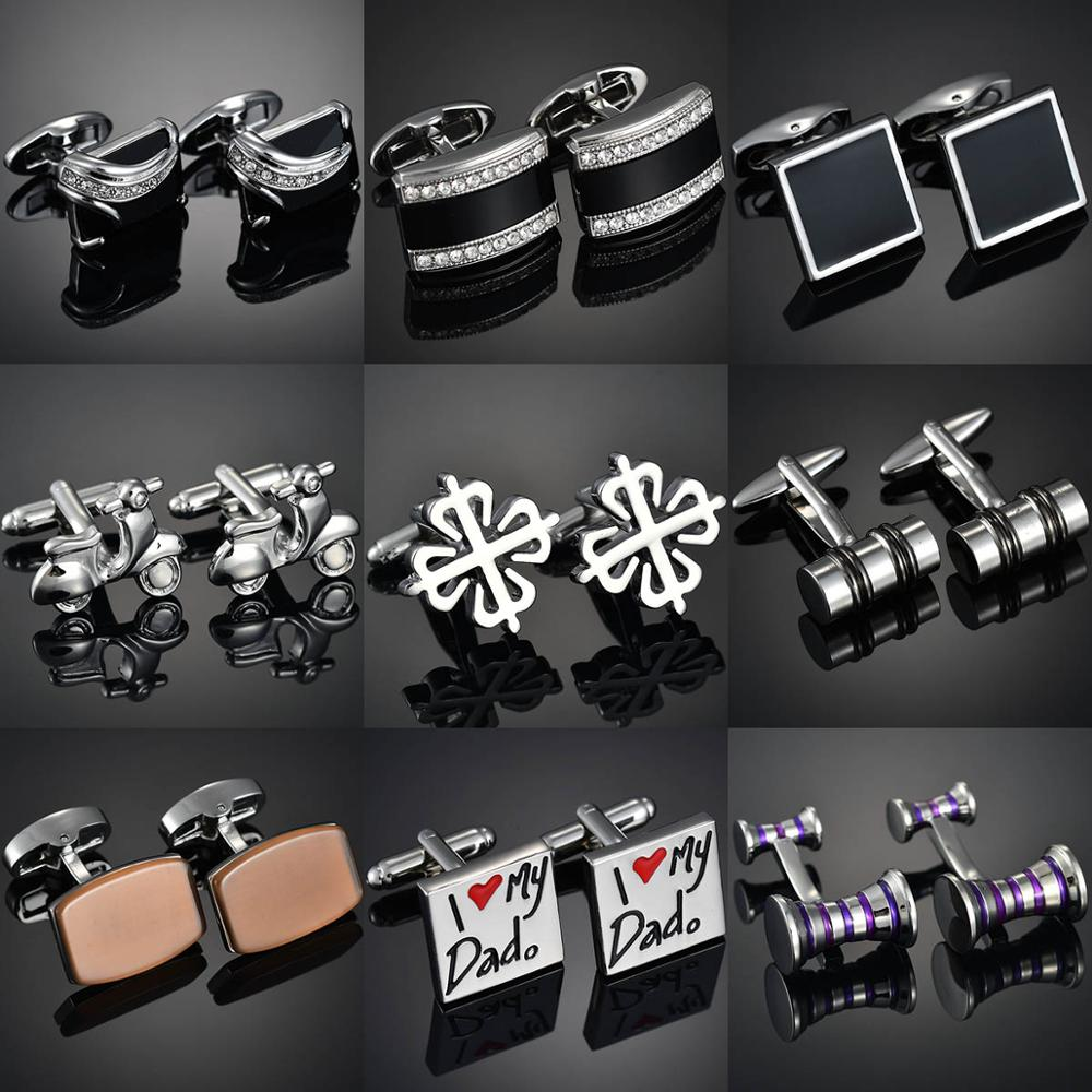New Brand Cufflinks Of High-grade Letters/Flower/Leaf/Knot/Bike/Gems Men's Shirts Cuff-links Gemelos Para Hombre Camisa Bouton M