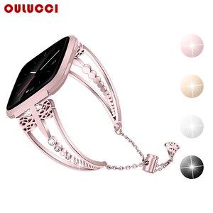 Image 1 - OULUCCI מתכת שעון צמיד רצועת צמיד עבור Fitbit versa 2 להקת צמיד להקת אביזרי עבור fitbit versa2 רצועת נשים