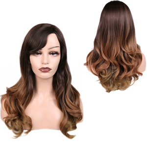Image 4 - FAVE Long Ombre Brown Wavy Wig Blonde Pink Purple Pink Black Gray Synthetic Wig For Women Cosplay Hair High Density Temperature