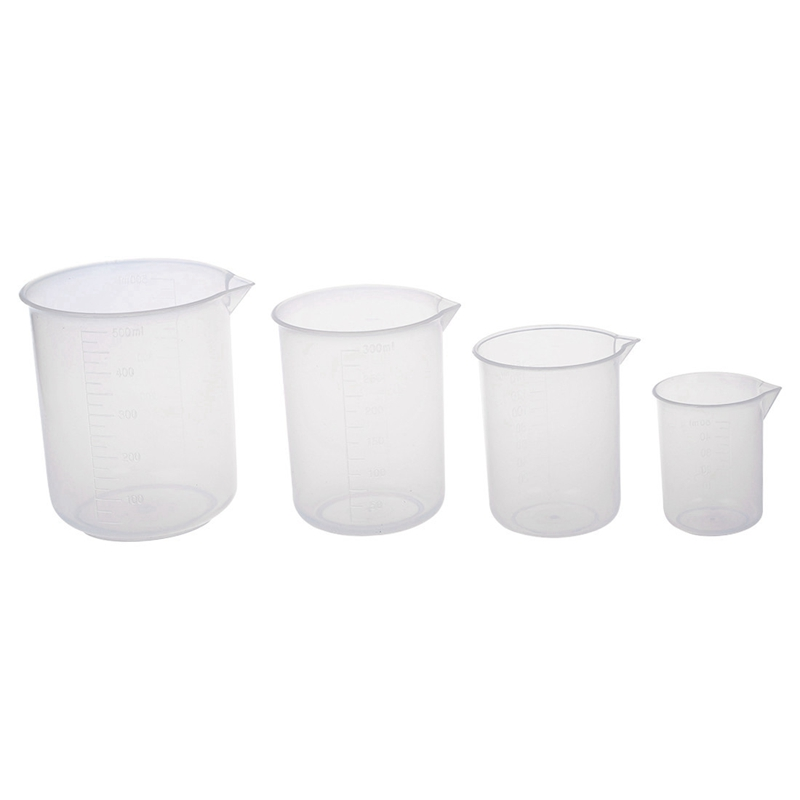 50 150 250 500 Ml Laboratory Transparent Plastic Measuring Cup 4 Pieces. Tool Measuring Cup