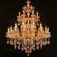 Большие 30 шт. Матовые люстры из золота Led канделябро Отель Подвесной светильник освещение для виллы гостиной Lustre de cristal лампы