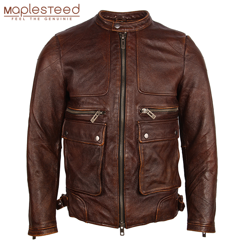 Vintage Distressed Leather Jacket Men Soft100% Natual Calfskin Genuine Leather Jacket Men Winter Coat Male Clothing Autumn M182