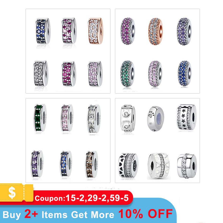 100% 925 Sterling Silver Beads Charm Shining Elegance Clips Pave CZ Charms Fit Original Pandora Bracelets Women Diy Jewelry(China)