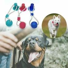 Zabawki dla psa interaktywna lina zabawka wielofunkcyjna piłka sznurowa z przyssawką z gumy do żucia piłka czyszczenie zębów bezpieczne tanie tanio Buffer CH (pochodzenie)