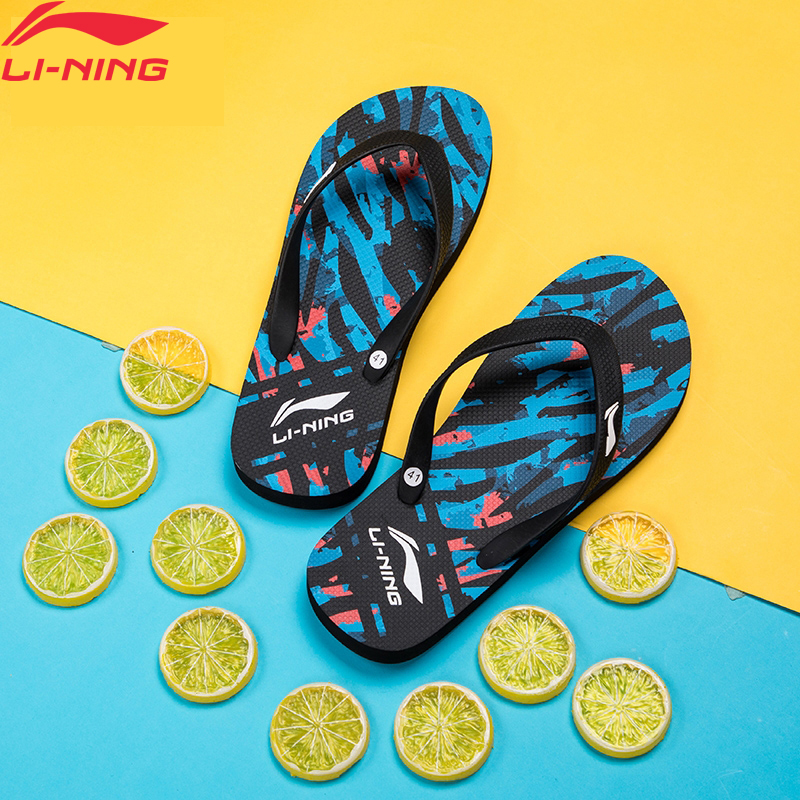 Li-Ning Men Athletic Pro Graphic Sandals Beach Outdoor LiNing Li Ning Light Breathable Sports Shoes Slippers ALSP007 XMT308