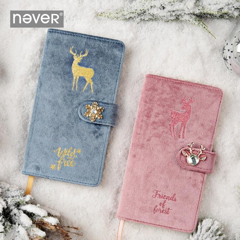 Never Christmas Elk Series Blank Paper Planner Workbook Notepad Velvet Fabric Cover Notebooks Portable Diary Gift Stationery