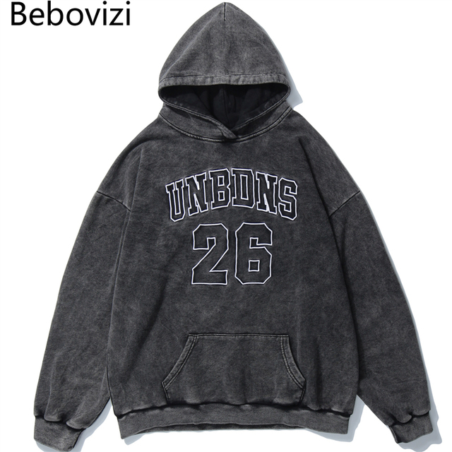 Bebovizi Streetwear Washed Hoodies Sweatshirt 26 Embroidery Hip Hop Men Hoodie Harajuku Pullover Oversize Free Shipping Suppliers
