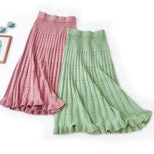 AcFirst Autumn Winter Blue Green Women Skirts Fashion Womens High Waist Mid-Calf Skirt Clothing Knitting Long Wool