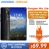 Original DOOGEE MIX Lite Smartphone Dual Camera 5.2'' MTK6737 Quad Core 2GB+16GB Android 7.0 3080mAh Fingerprint Mobile Phones