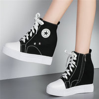 Tennis Shoes Women Leather Wedges High Heel Pumps Fashion Sneakers High Top Platform Trainers Lace Up Canvas Vulcanized Shoes
