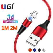 цена на UGI 3A QC3.0 1M 2M Magnetic Cable Fast Charge For Samsung S10 S9 Micro USB Type C USB C Charger Data Sync Cord Tablet Laptop LED