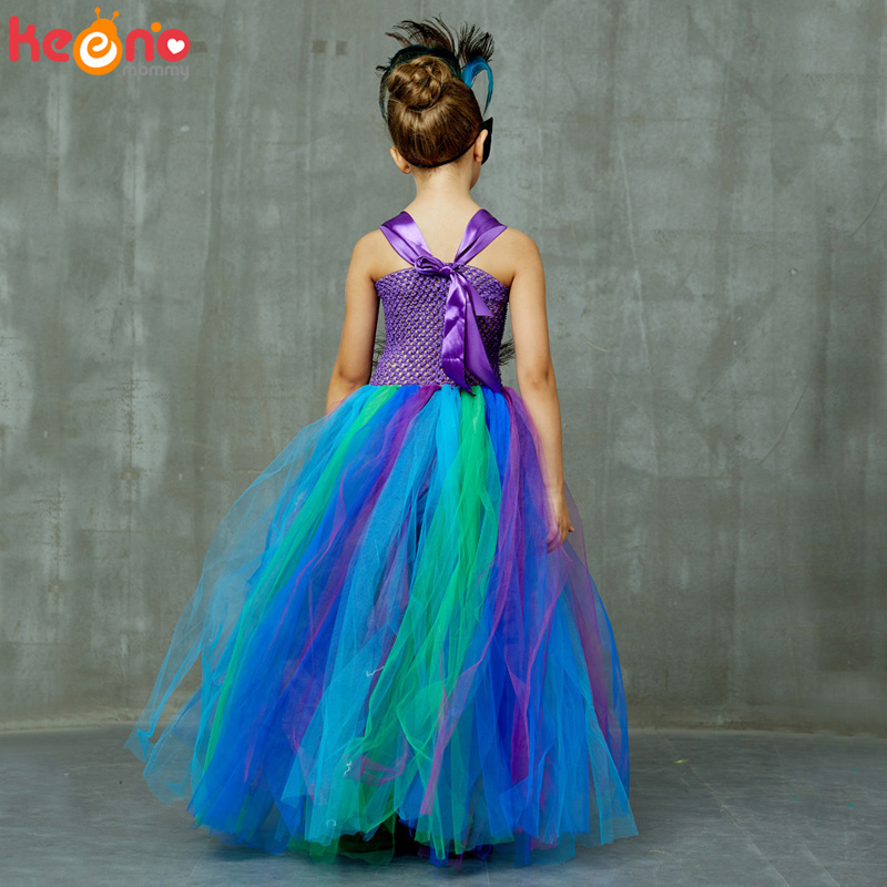 High-end Girls Peacock Princess Tutu Dress with Mask Flower Feathers Girl Ball Gown Dresses Tulle Kids Party Pageant Costume 5