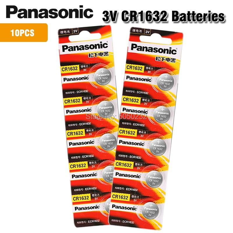 10 шт., оригинальный совершенно новый аккумулятор для PANASONIC cr1632 3 в, кнопочные элементы, батарейки для часов, компьютера cr 1632