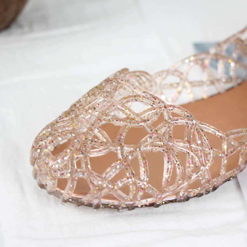 Sandalet plastik kesim jöle daireler bayan sandalet kadın yaz nefes Flats jöle ayakkabı kadınlar üzerinde kayma artı boyutu # e2