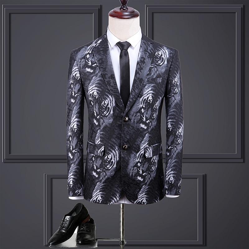 New Men's Blazer Tiger Printing Slim Fit Fashion Outwear Personality Party Nightclub Stage Blazer  Male Casual Oversize Jacket