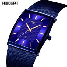 NIBOSI Reloj de marca de lujo para hombre, reloj de malla de acero inoxidable, deportivo de cuarzo, cronógrafo cuadrado, Masculino