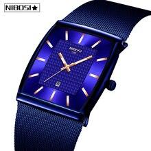 レロジオmasculino nibosi高級ブランド腕時計メンズステンレススチールメッシュバンドクォーツスポーツメンズ腕時計クロノグラフ正方形の時計時計
