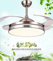 LED Invisible Ceiling Fan Light Bedroom Ceiling Fan Light with Remote Control Ceiling Light with Fan