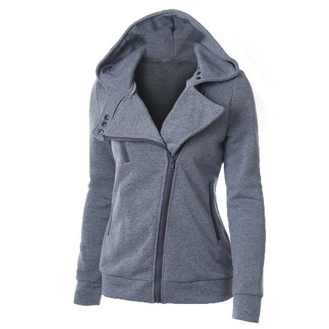 2020 Zipper Warm Fashion Hoodies Women Long Sleeve Hoodies Jackets Hoody Jumper Overcoat Outwear Female Sweatshirts 3