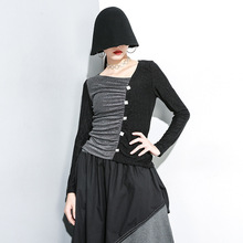 European 2019 Autumn  New Sleeve Slim Spliced Long T-Shirt womens long sleeve tops plus size women shirts A71Z40