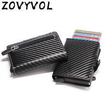 Zovyvol 2021 rfid titular do cartão de visita que obstrui a caixa de alumínio da carteira do couro do plutônio cartão de crédito automático da carteira do metal para o curso