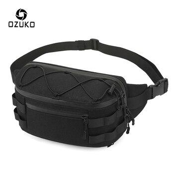 OZUKO Fashion Men Waist Pack Outdoor Sports Belt Bag Waterproof Men's Chest Bags Molle Waist Bag High Quality Male Fanny Pack