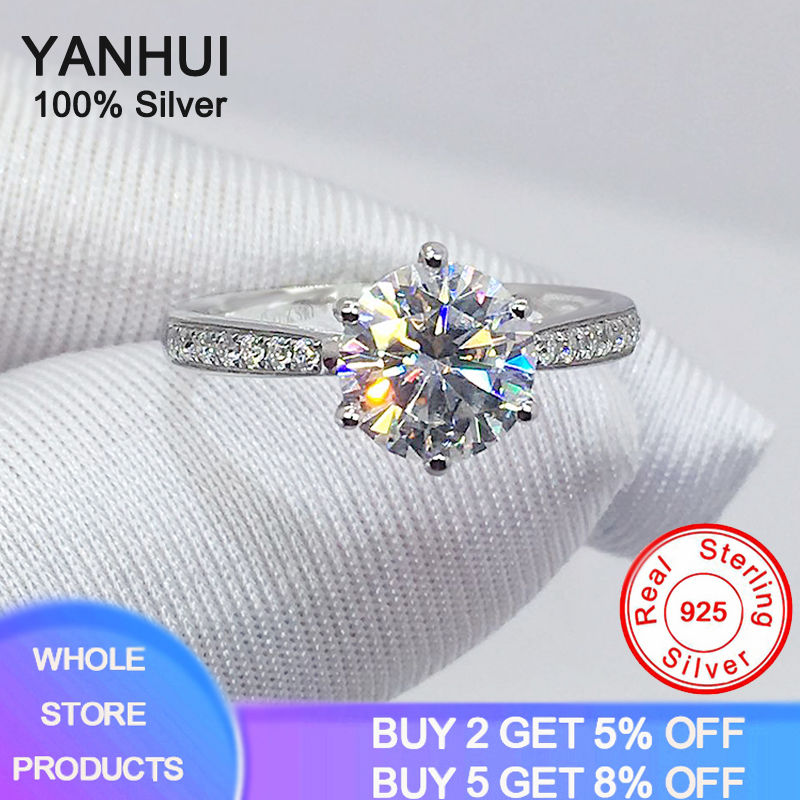 With Certificate 2.0ct 8mm Round Cut Zirconia Diamond Ring Silver Test Passed Women 925 Silver Ring Fine Jewelry Love Token Gift