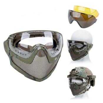 airsoft paintball mask safety protective anti fog goggle full face mask with black yellow clean lens tactical shooting equipment Airsoft Paintball Hunting Mask Anti-fog Goggle Tactical Combat Mask Full Face Mask Military Protective Masks