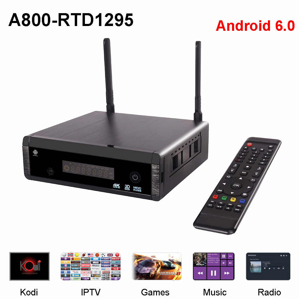 A800 Android 6.0 Smart TV BOX 2GB DDR4 16GB Realtek RTD1295 Android set top box 2.4G 5G Dual wifi Ondersteuning youtube VS Zidoo X9S