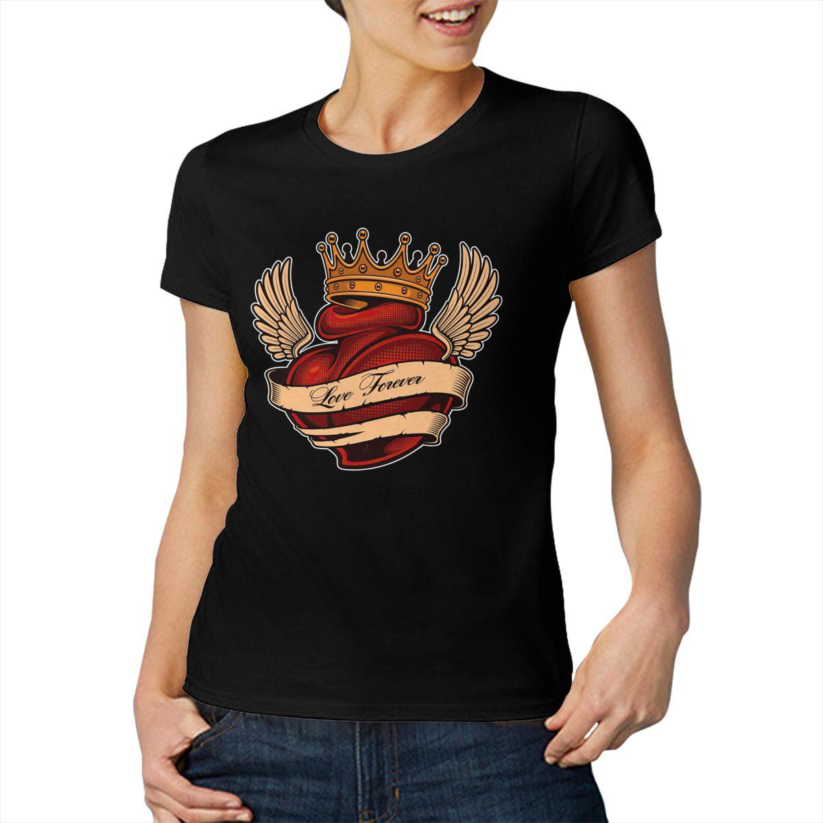 Сердце крылья и носит корона в подарок, мультипликационным изображением крутая футболка с короткими рукавами Топ