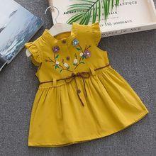 Вечерние платья без рукавов с цветочной вышивкой персикового цвета для маленьких девочек, От 1 до 4 лет, милое Хлопковое платье для маленьких...