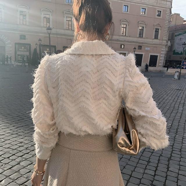 XIBUSANA Elegant Notched Collar Women Tassels Blouses 2021 Spring New Long Sleeve Single-breasted Female Workwear Shirts Tops 3