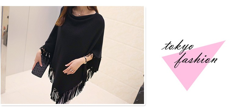 Women Spring Autumn Knitted Sweater Poncho Coat 22