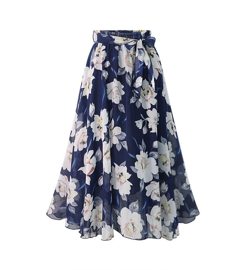 Plus Size Chiffon Floral Skirt Summer Print Skirts Midi Lining Jupe Femme Lace Pinup Women High Waist Skirt